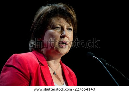 PARIS, FRANCE - OCTOBER 6, 2011 : Martine Aubry during her meeting for socialist primary at gymnasium Japy in Paris