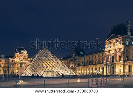 PARIS, FRANCE - OCTOBER 26, 2010: Monuments of Paris at night