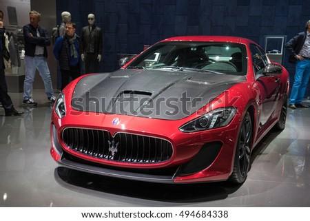 paris france october 6 2016 new maserati cars are shown at paris