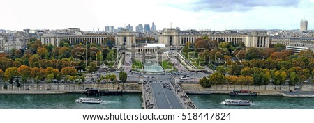 PARIS, FRANCE - OCTOBER 10, 215: Panoramic and aerial view of the River Seine and Trocadero in Paris, France. View from the Eiffel Tower.