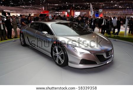 PARIS, FRANCE - OCTOBER 02: Paris Motor Show on October 02, 2008, showing Peugeot RC concept car, front view. - stock photo
