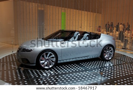 PARIS, FRANCE - OCTOBER 02: Paris Motor Show on October 02, 2008, showing Saab 9-X Air Concept, front-side view - stock photo