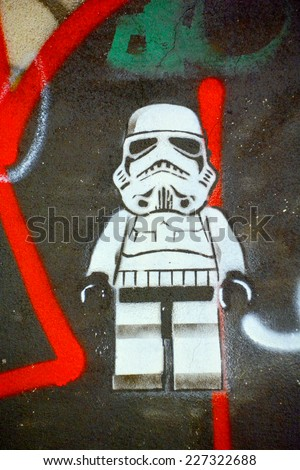 PARIS FRANCE OCTOBER 19: Street art Stormtrooper  in Paris France october 19 2014. Paris is the perfect place to walk in the back alleys and abandoned areas, looking for fresh air and street art. - stock photo
