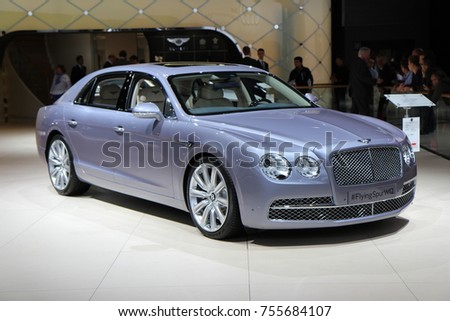 PARIS, FRANCE - OCTOBER 7th, 2014 : Bentley Flying Spur W12 at Paris Autoshow