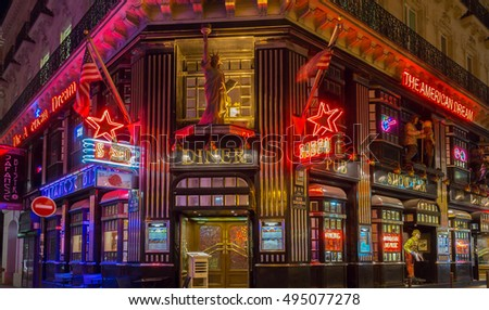 Paris, France-October 06, 2016: The American Dream is a famous restaurant and entertainment venue in Paris at 21 rue Daunou near National Opera house.