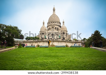 PARIS, FRANCE - OCTOBER 9, 2014: The Basilica of the Sacred Heart of Paris, commonly known as Sacré-CÅ?ur Basilica in Montmartre Paris. - stock photo