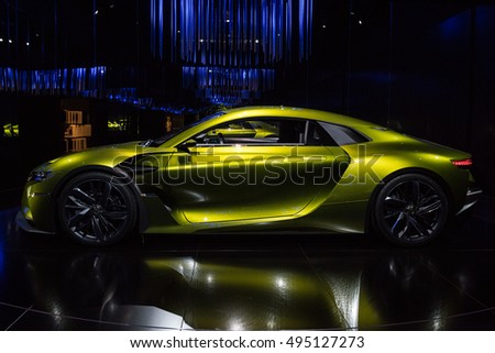PARIS, FRANCE - October 7, 2016 : The coupe electric concept car DS E-Tense form car manufacturer DS. introducing it's vision of future at the Paris Motor show 2016.