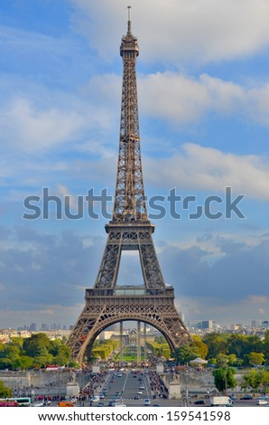 PARIS, FRANCE OCTOBER 12: the Eiffel Tower (Tour Eiffel) on october 12, 2013 in Paris, France. It was built between 1887 and 1889 for the World's Fair (Expo 1889).