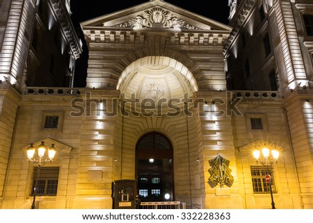 Paris, France-October 25, 2015; The entry into police headquarters based on Cite island, 9 boulevard du Palais in Paris, France.
