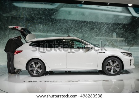 PARIS, FRANCE - OCTOBER 10, 2016:  The Kia Optima Sportswagon is displayed at Paris Motor Show. It represents a change of tack for the Korean firm in a few crucial ways.