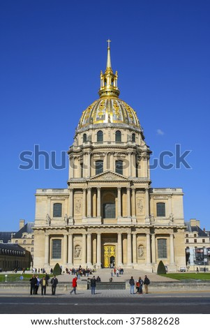 PARIS, FRANCE - OCTOBER 18, 2009: The National Residence of the Invalids (Les Invalides) - the military museum and the place where are the tombs of Napoleon and his son are located, Paris, France
