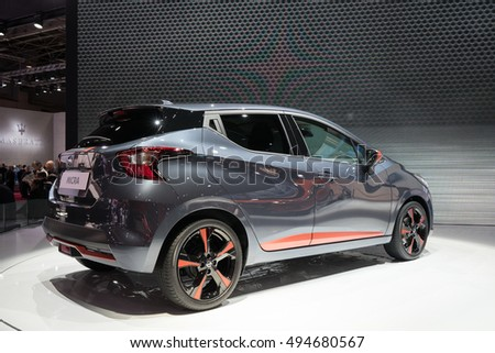 PARIS, FRANCE - OCTOBER 6, 2016: The next generation Nissan Micra is unveiled at Paris Motor Show. It is striking in style, technically advanced.