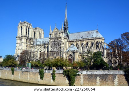 PARIS, FRANCE - OCTOBER 12: The Notre Dame cathedral of Paris, France, on october 12, 2014, one of the most famous landmarks in Paris. In 2013, the cathedral celebrate its 850 years anniversary.