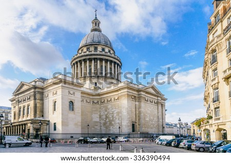 Paris/France - October 5, 2009: The Pantheon was originally built as a church dedicated to St. Genevieve. Now it functions as a secular mausoleum containing the remains of famous French citizens