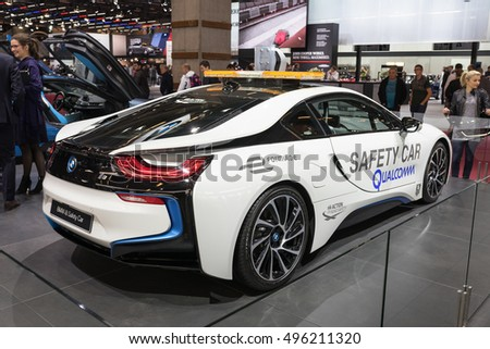 PARIS, FRANCE - OCTOBER 10, 2016: The plug-in hybrid safety car BMW i8 at the Paris Motor show 2016. It's a car that limits the speed of competing cars on a racetrack in the case of a caution period.