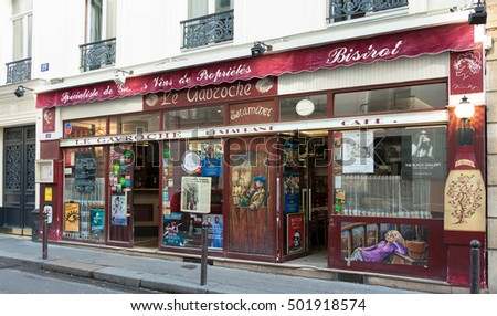 Paris, France-October 15, 2016: The traditional French bistrot Le Gavroche located near  Bourse of Paris, France.