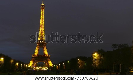 PARIS, FRANCE - OCTOBER 8, 2017. Time lapse of the illuminated Eiffel tower at night