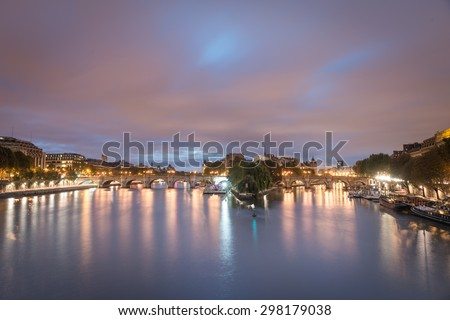 Paris, France. October 17, 2015: View of River Seine and Cite Island  in Paris, early morning. shot as HDR. - stock photo