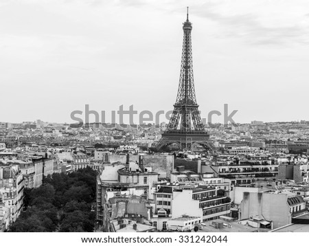 PARIS, FRANCE, on AUGUST 30, 2015. A city landscape with the Eiffel Tower. View from the Triumphal arch
