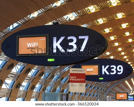 PARIS, FRANCE - on JANUARY 14, 2016. The international airport Charles de Gaulle, navigation elements in the terminal E.