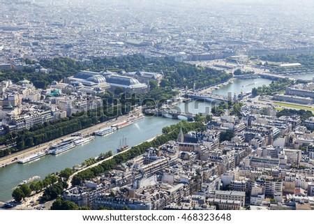 PARIS, FRANCE, on JULY 7, 2016. A view of the city from above from the survey platform of the Eiffel Tower. River Seine its embankments and bridges.