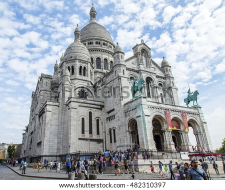 PARIS, FRANCE, on JULY 8, 2016. One of the main sights of the city - the Basilica Sakre-Kyor on the hill Montmartre, a symbol of Paris. Architectural fragment