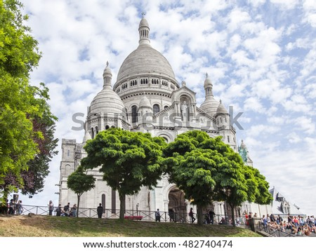 PARIS, FRANCE, on JULY 8, 2016. One of the main sights of the city - the Basilica Sakre-Kyor on the hill Montmartre, a symbol of Paris.