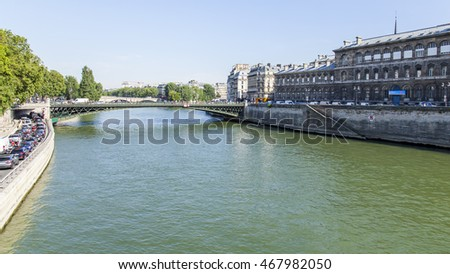 PARIS, FRANCE, on JULY 6, 2016. View of the river Seine and its embankments