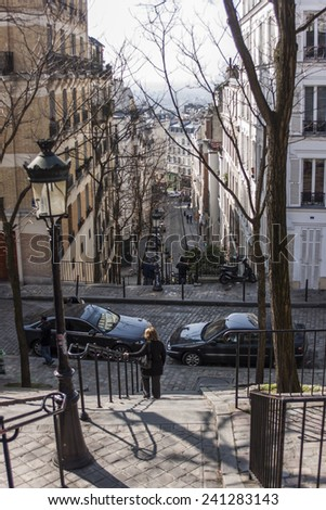 Paris, France, on March 26, 2011. City landscape. Typical Street on Montmartre