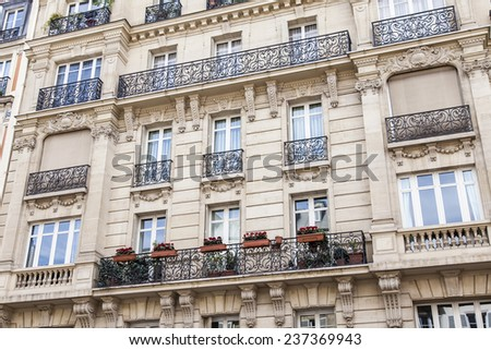 Paris, France, on May 3, 2013. Typical urban view. Architectural details.