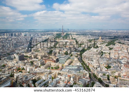 PARIS, FRANCE, Panorama aerial View on Eiffel Tower from the Montparnasse tower. Cityscape - stock photo