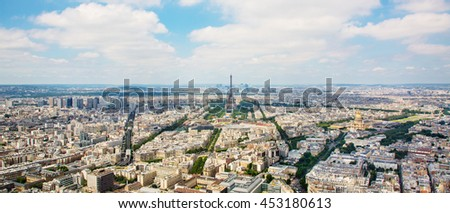 PARIS, FRANCE, Panorama aerial View on Eiffel Tower from the Montparnasse tower. Cityscape