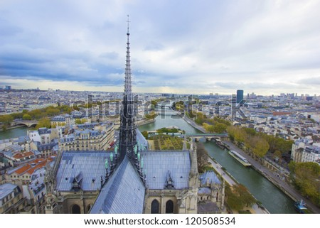 Paris, France, panoramic aerial view from Notre Dame
