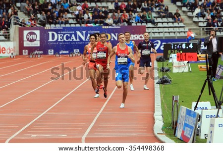 PARIS, FRANCE - SEP.13: Konstantin Tolokonnikov from Russia winning 800 m. race on DecaNation International Outdoor Games on September 13, 2015 in Paris, France. (born 26 Feb. 1996 in Rostov, Russia)