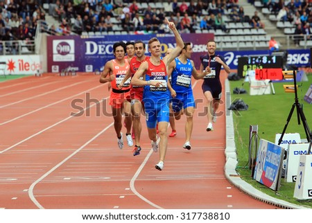 PARIS, FRANCE - SEP.13: Konstantin Tolokonnikov the winner of 800 m. race on DecaNation International Outdoor Games on September 13, 2015 in Paris, France.(born 26 Feb. 1996 in Rostov-on-Don, Russia)