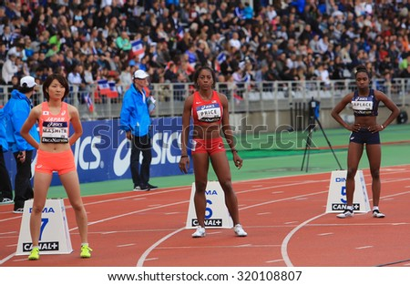 PARIS, FRANCE - SEP.13: Manami Mashita, Chanelle Price and Camille Laplace on the start of 800 meters race on DecaNation International Outdoor Games on September 13, 2015 in Paris, France.
