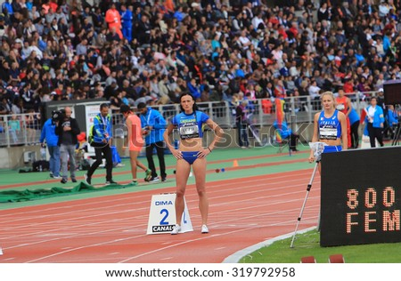 PARIS, FRANCE - SEP.13: Natalia Lupu winner of the 800 meters race on DecaNation International Outdoor Games on September 13, 2015 in Paris, France.