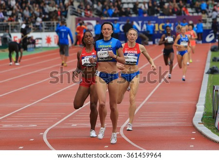 PARIS, FRANCE - SEP.13: Nataliia Lupu from Ukraine win 800 meters race on DecaNation International Outdoor Games on September 13, 2015 in Paris, France.