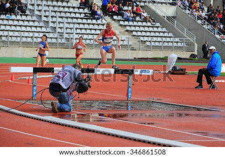 PARIS, FRANCE - SEP.13: Natalya Aristarkhova from Russia COMPETE on the 3000 meters steeple on DecaNation International Outdoor Games on September 13, 2015 in Paris, France