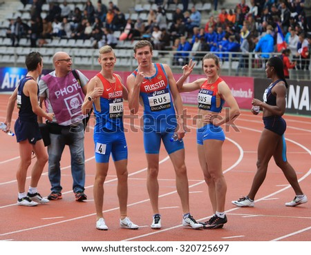 PARIS, FRANCE - SEP.13:  Russian Track and Field team celebrate first place in relay race on DecaNation International Outdoor Games on September 13, 2015 in Paris, France.