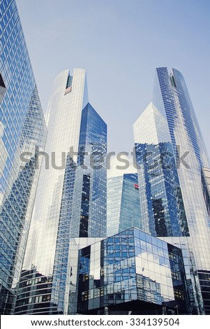 PARIS, FRANCE - SEP 20: View of Societe Generale headquarter in La Defense, Paris on September 20 2015. Societe Generale is a French multinational banking and financial services company.