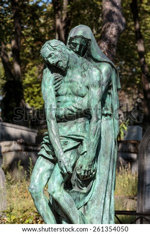 PARIS, FRANCE - SEPT 12, 2014: View of Pere Lachaise. World's most visited cemetery, attracting thousands of visitors to graves of those who have enhanced French life over past 200 years. - stock photo