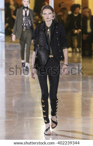 PARIS, FRANCE - SEPTEMBER 29: A model walks the runway during the Anthony Vaccarello show as part of the Paris Fashion Week Womenswear Spring/Summer 2016 on September 29, 2015 in Paris, France.