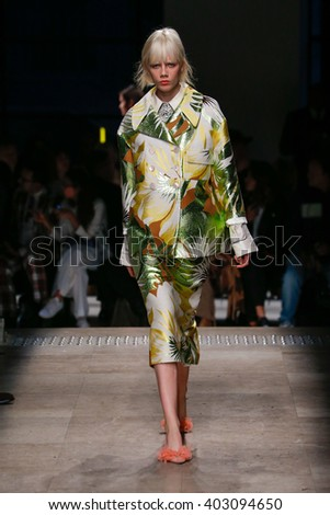 PARIS, FRANCE - SEPTEMBER 30: A model walks the runway during the Rochas show as part of the Paris Fashion Week Womenswear Spring/Summer 2016 on September 30, 2015 in Paris, France.
