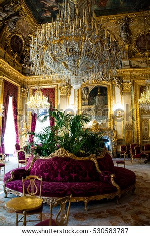 PARIS, FRANCE -20 September 2015: Apartments of Napoleon III. Louvre Museum is the biggest museum in word.