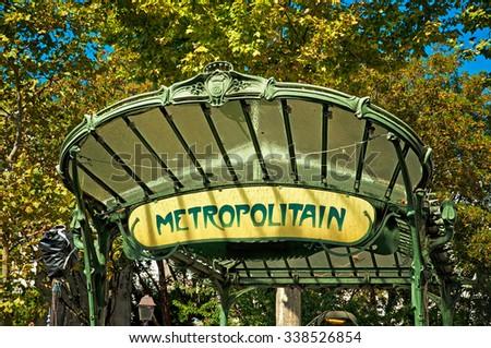 PARIS, FRANCE - 09 SEPTEMBER, 2014:Art Nouveau entrance to Paris Metro subway in Paris, France on 9 September, 2014.  - stock photo