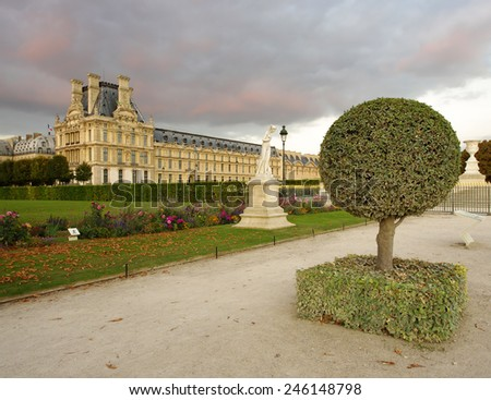 PARIS, FRANCE - SEPTEMBER 22, 2011: Back yard of The Louvre Palace, a former royal palace located on the Right Bank of the Seine in Paris. Photo taken on September 22, 2011 in Paris.  - stock photo