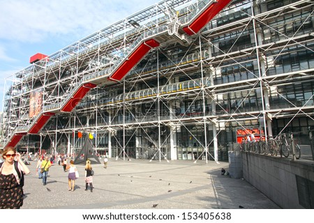 PARIS, FRANCE-SEPTEMBER, 10: Center Georges Pompidou. The Centre was built by firm GTM and completed in 1977 on September 10, 2012 in Paris.Is the third most visited Paris attraction.
