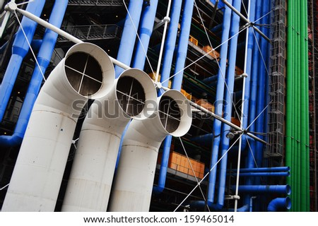 PARIS, FRANCE - SEPTEMBER 22: Centre Georges Pompidou in Paris on September 22, 2013. It is house of public library and  Museum of Modern Art with anual attendance of 3.6 million visitors - stock photo