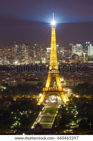 PARIS, FRANCE - SEPTEMBER 21, 2011: Eiffel Tower seen from Montparnasse tower on September 21, 2011 in Paris